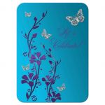 Purple, teal blue and silver floral Bat Mitzvah reception enclosure card insert with silver butterflies and purple and turquoise flowers.