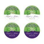 Personalized Purple, Lime Green, White Sticker | PRINTED Joined Hearts, Ribbon, Bow.