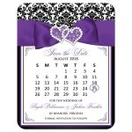 Black and white damask wedding save the date mini calendar card with purple ribbon, bow, jewels and glitter.