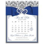 Gray and white damask wedding save the date mini calendar card with royal blue ribbon, bow, jewels and glitter.
