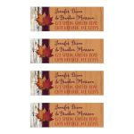 ​Personalized autumn leaves and burlap on faux wood return address mailing labels.