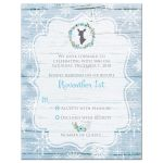 Rustic blue and white snowflakes winter wedding response enclosure card inserts with blue flower wreath, gray deer head, and wood.