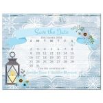 Rustic blue and white snowflakes winter wedding save the day postcard with mini calendar, blue flowers, gray deer antlers, grey lantern, and wood.