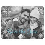 Rustic blue and white snowflakes winter wedding save the date card with photo template, blue flowers, gray deer antlers, grey lantern, and wood.