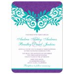 Elegant teal and purple vintage lace wedding invitation front