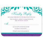 Elegant teal and purple vintage lace wedding RSVP card front
