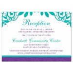 Elegant teal and purple vintage lace wedding reception insert card front