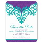 Elegant purple teal vintage lace wedding save the date announcement front
