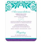 Elegant teal purple vintage lace wedding details card front