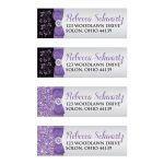 Personalized black, silver grey, and purple Bat Mitzvah return address mailing labels with purple ribbon, bow, jewels, glitter, and Jewish Star of David.