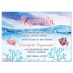 Under the sea Bat Mitzvah reception card with ocean water, tropical fish and starfish