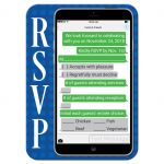 Bar or Bat Mitzvah party RSVP response reply enclosure card insert with a LEGO building blocks and iPhone smart phone electronics technology theme.