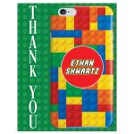 Personalized Bar or Bat Mitzvah party thank you card with a LEGO building blocks and iPhone smart phone electronics technology theme.