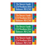 Colorful building blocks pattern address labels in blue, red, yellow, green, and orange with a multi-colored background with white text.