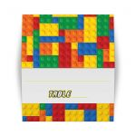 construction or building blocks pattern Bar or Bat Mitzvah tent style folded place card or escort card in red, blue, green, orange, and yellow.