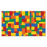 construction or building blocks pattern Bar or Bat Mitzvah place card or escort card in red, blue, green, orange, and yellow.