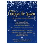 "Celebrate the Season"" falling snow corporate or business holiday, Christmas party, or New Year's Eve party invitation in navy blue, gold, and white."