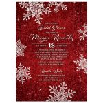 Red and white simulated velvet snowflake winter or Christmas holiday bridal shower invitation front