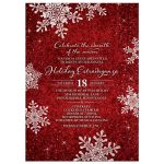 Red and white simulated velvet snowflake Christmas holiday or corporate winter party invitation front