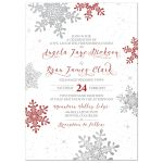 red and silver snowflake winter wedding invitation front