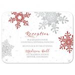 Red, silver grey and white snowflake winter wedding reception insert card front