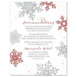 Red, silver gray and white snowflake winter wedding accommodations card front