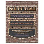 ​Vintage marquee lights Bar Mitzvah reception card - hollywood, broadway, red carpet