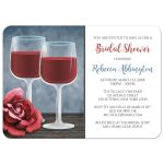 Bridal Shower Invitations - Red Wine Glasses Floral Rose