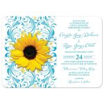 ​Malibu blue yellow sunflower floral wedding invitation