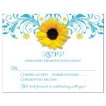 Malibu blue yellow sunflower floral wedding RSVP card