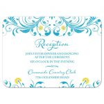 Elegant malibu blue and yellow floral wedding reception insert card