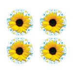Malibu blue and yellow sunflower floral wedding envelope seals or wedding stickers