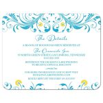 Malibu blue and yellow floral wedding details insert card