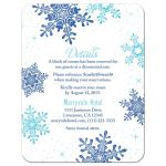 ​Turquoise and royal blue snowflake  winter wonderland sweet 16 accommodations details card front