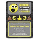 Birthday Party Invitations - Emoji Keyboard Gray and Yellow