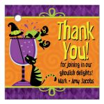 Personalized Halloween cocktail party thank you favor tags with witch black cat