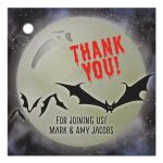 Full moon and bats personalized Halloween party favor tags