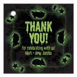 Green and black radioactive slime and rats personalized Halloween party favor tags