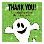 Cute green and white ghost personalized Halloween party favor tags