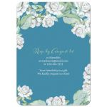 Teal and white rose floral 90th birthday invitation back