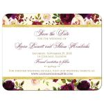 Burgundy, cream, white, gold watercolor flowers and feathers save the date cards.