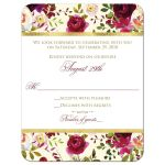 Burgundy, marsala, cream, white, gold watercolor flowers and feathers wedding response enclosure card insert for bohemian wedding.