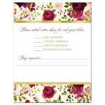 Burgundy, cream, white, gold watercolor flowers and feathers wedding RSVP enclosure cards for bohemian wedding.