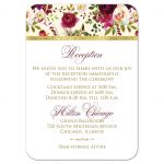 Burgundy, cream, white, gold watercolor flowers and feathers wedding reception and accommodations enclosure card insert for elegant bohemian wedding.