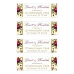Burgundy, cream, red, white, gold green, watercolor flowers and feathers wedding address labels for elegant bohemian wedding.