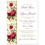 Burgundy, cream, white, gold watercolor flowers and feathers bridal, wedding, or couple's shower invitation for elegant bohemian wedding.