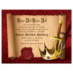 Medieval fantasy knight sword and king crown Bar Mitzvah save the date postcard front