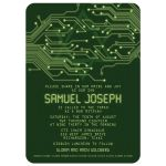 Green computer circuit board Bar Mitzvah invitation for computer, high tech, robotics, or electronics front