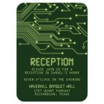 Green computer circuit board Bar Mitzvah reception insert card for computer, high tech, robotics, or electronics front