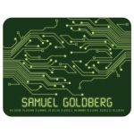 Green computer circuit board Bar Mitzvah thank you card for computer, high tech, robotics, or electronics front